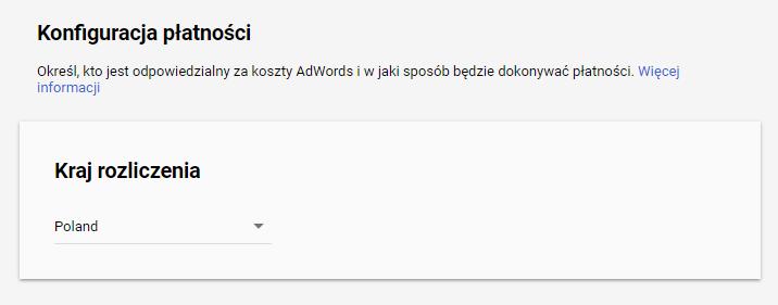 Konfiguracja płatności w Google AdWords