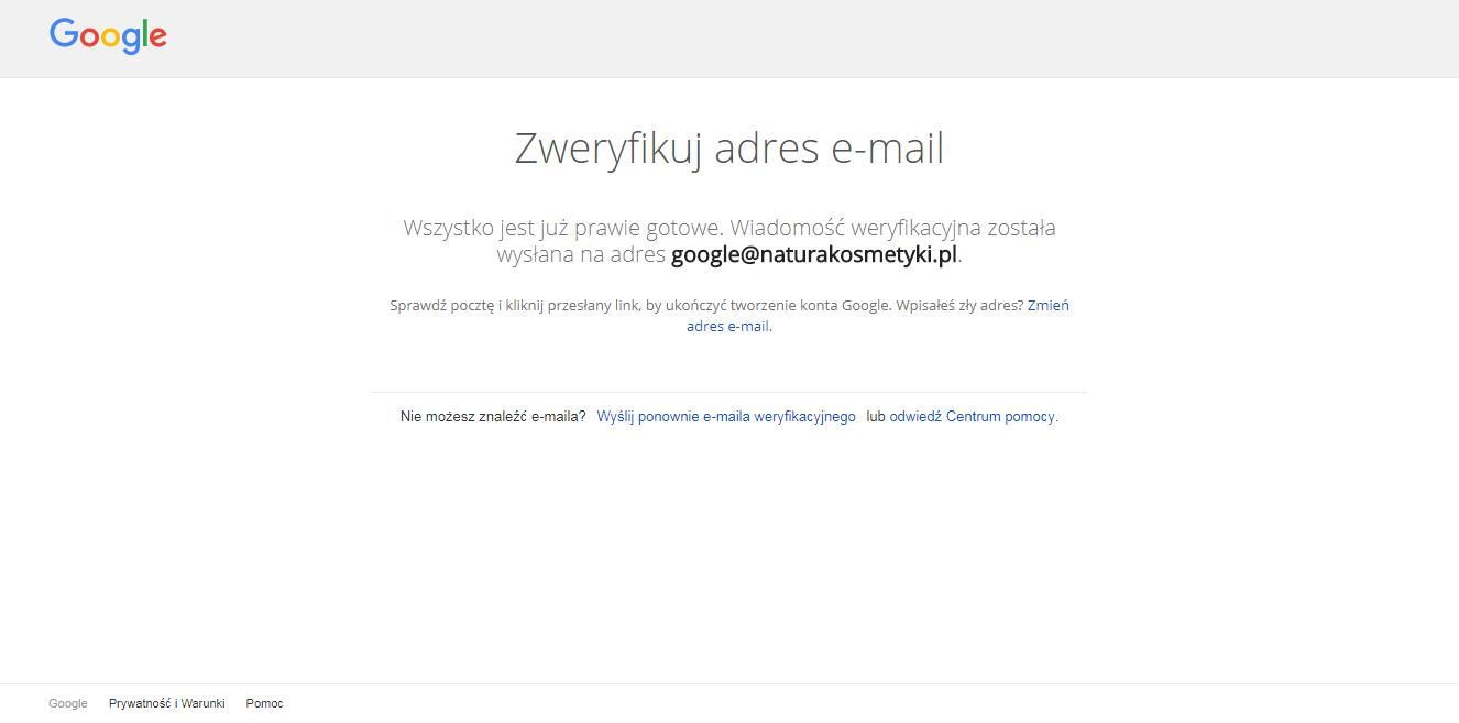Weryfikacja adresu - konto Google
