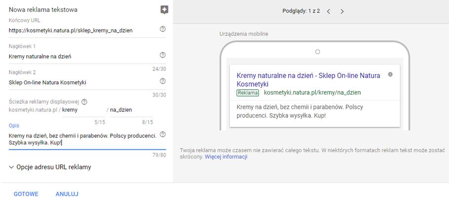 Adres URL w reklamie tekstowej Google AdWords