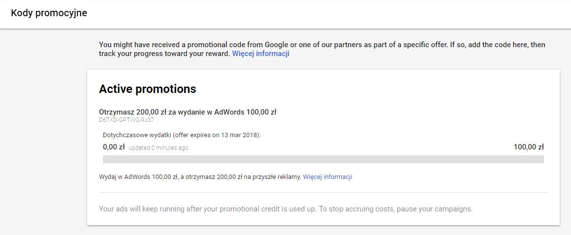 Aktywny kod Google AdWords