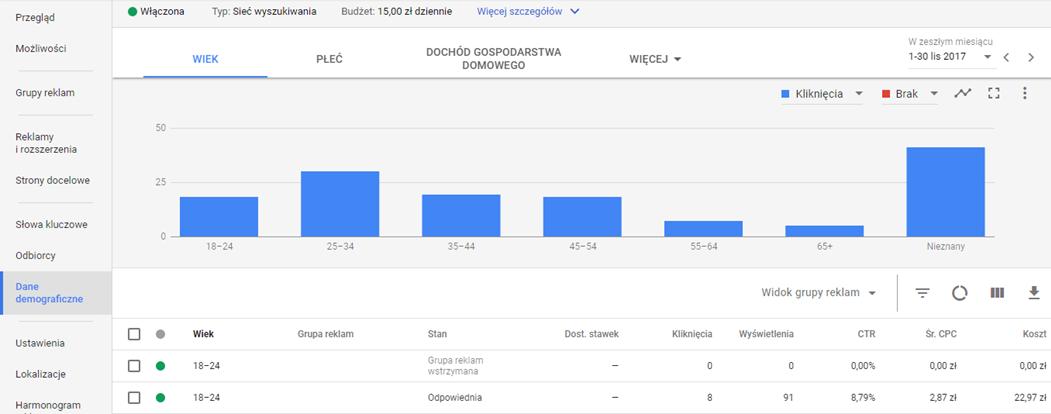 Dane demograficzne w kampanii Google AdWords