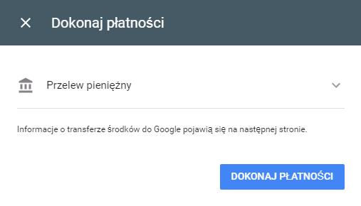 Przelew bankowy w Google AdWords