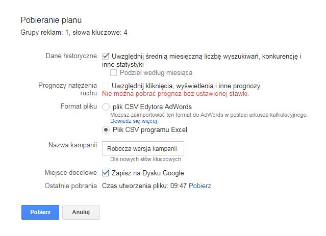Zapisz słowa kluczowe na dysku Google