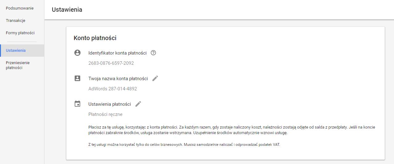 Edycja ustawień płatności Google AdWords