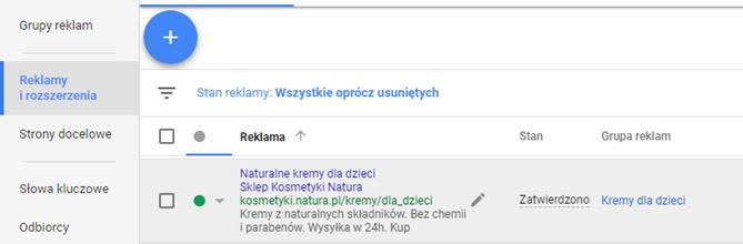 Edycja reklamy Google AdWords