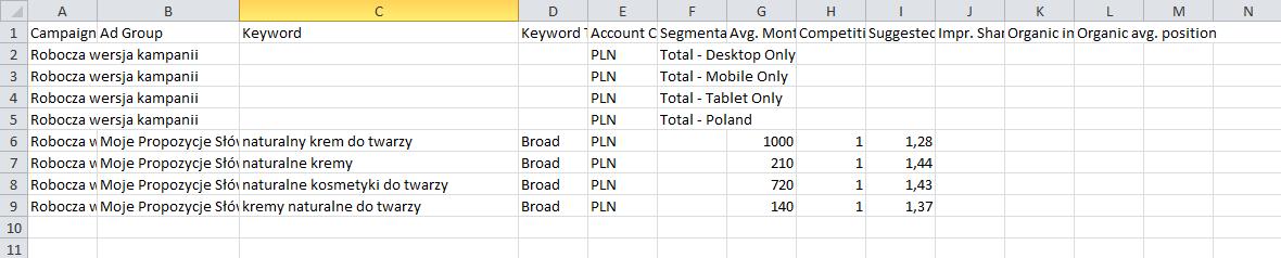 SÅ'owa kluczowe w pliku Excel