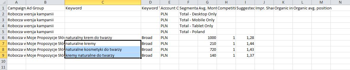 Zaznaczone słowa kluczowe w pliku Excel