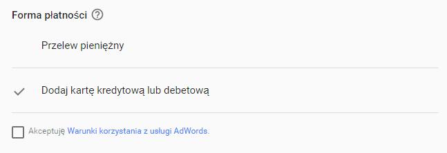 Formy płatności ręcznej w Google AdWords