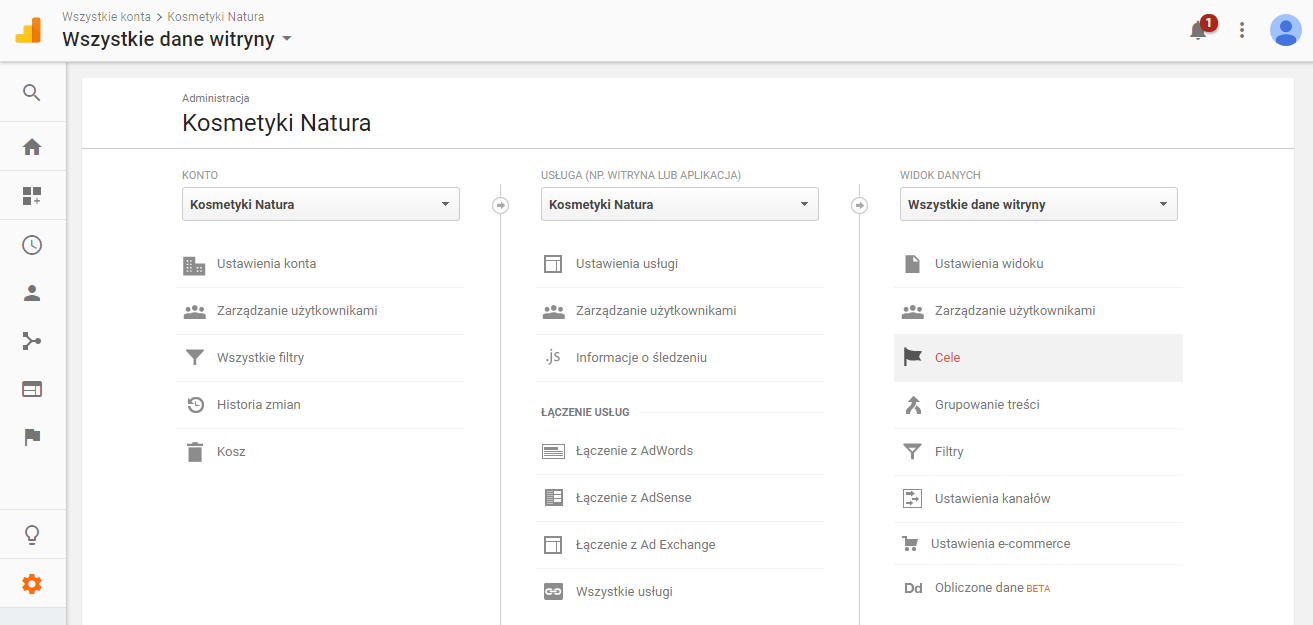 Cele w Google Analytics