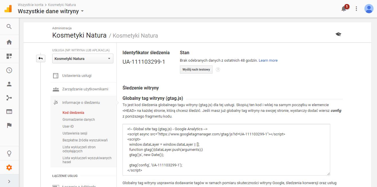 Identyfikator Å›ledzenia w Google Analytics