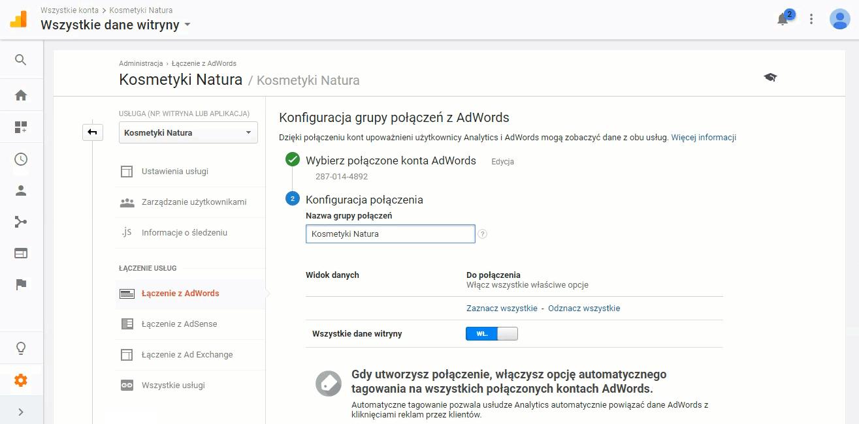 Nazwa połączenia Google Adwords i Google Analytics