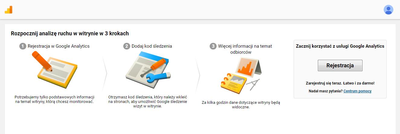 Rejestracja w Google Analytics