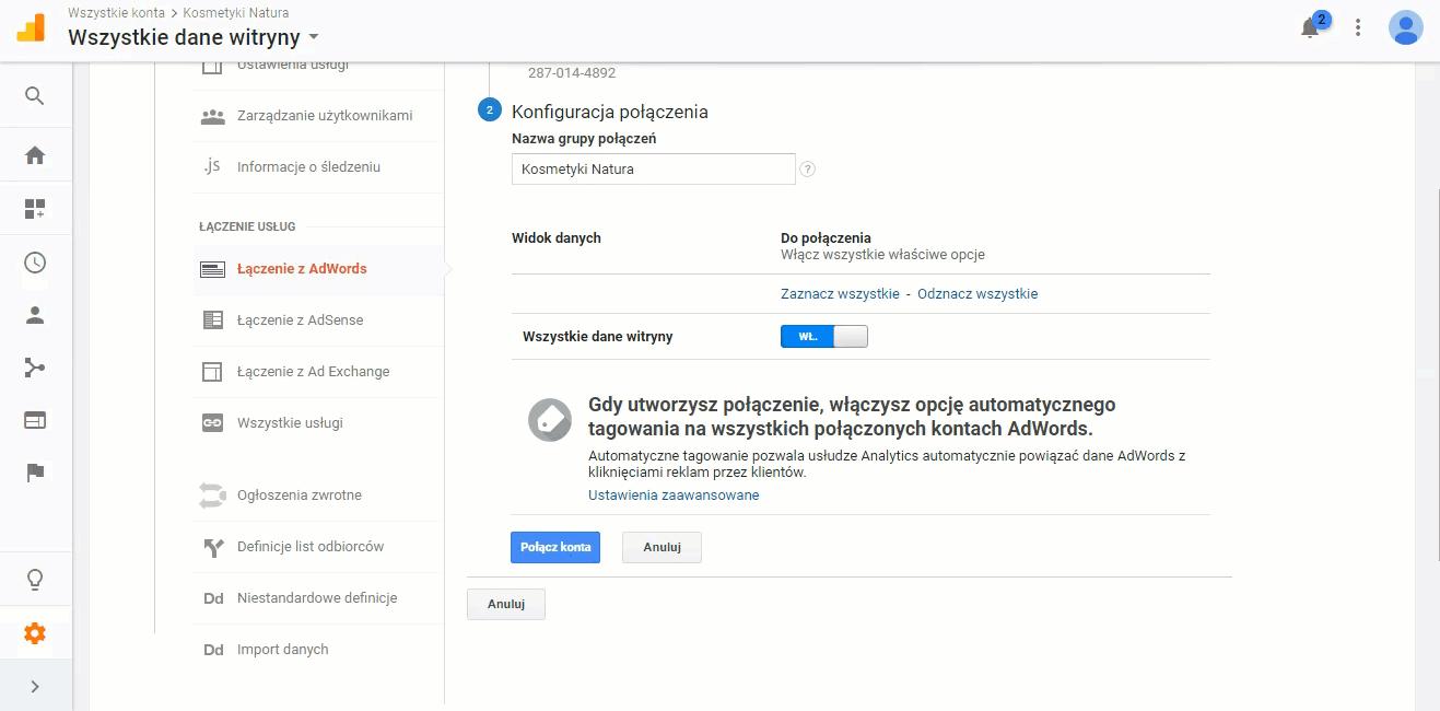 Połączenie kont Google Adwords i Google Analytics