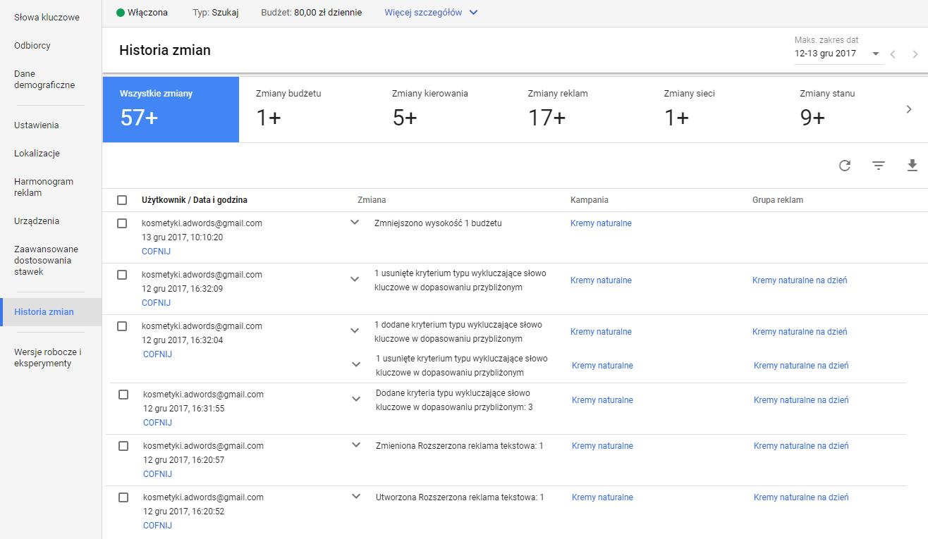 Historia zmian w panelu Google AdWords
