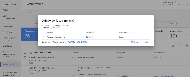 Nie można cofnąć zmian w kampanii Google AdWords