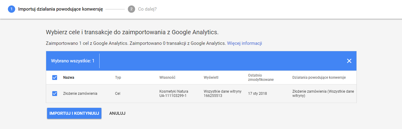 Import konwersji do Google AdWords