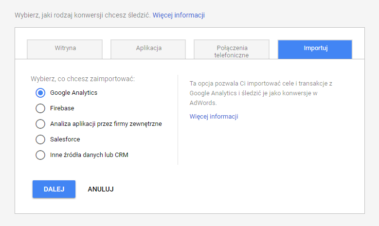 Import konwersji z Google Analytics