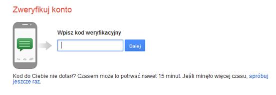 Kod - weryfikacja Google