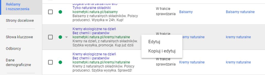 Kopiuj i edytuj reklamÄ™ tekstowÄ… Google AdWords