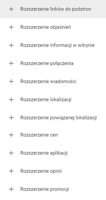 Lista dostępnych rozszerzeń reklamy Google AdWords