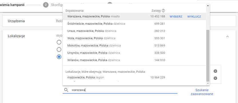 Lokalizacja - ustawienie kampanii Adwords