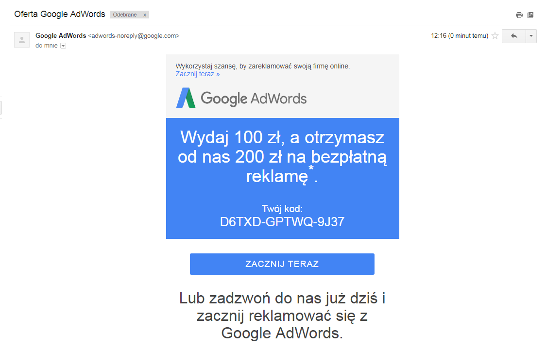 Mail z kodem Google AdWords