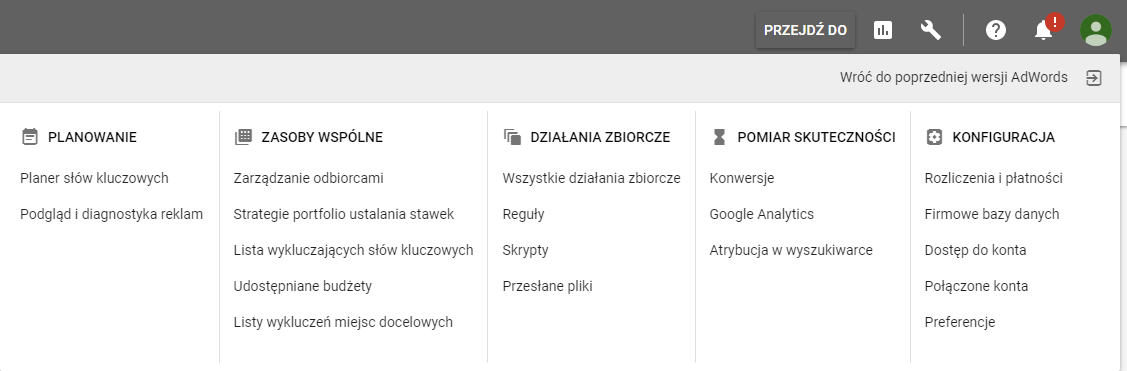 Menu główne Google AdWords