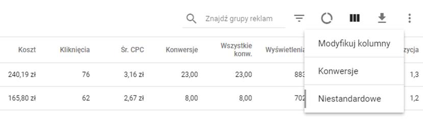 Opcja Modyfikuj kolumny w Google AdWords