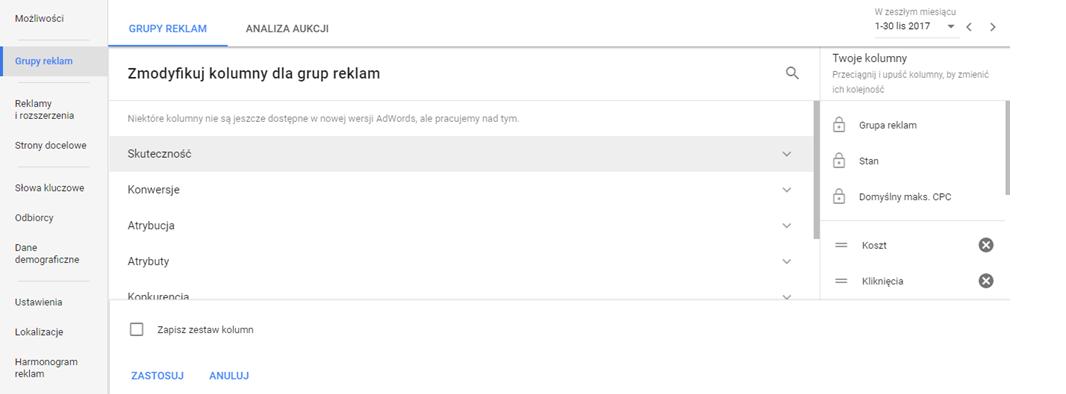 Modyfikuj kolumny w panelu Google AdWords
