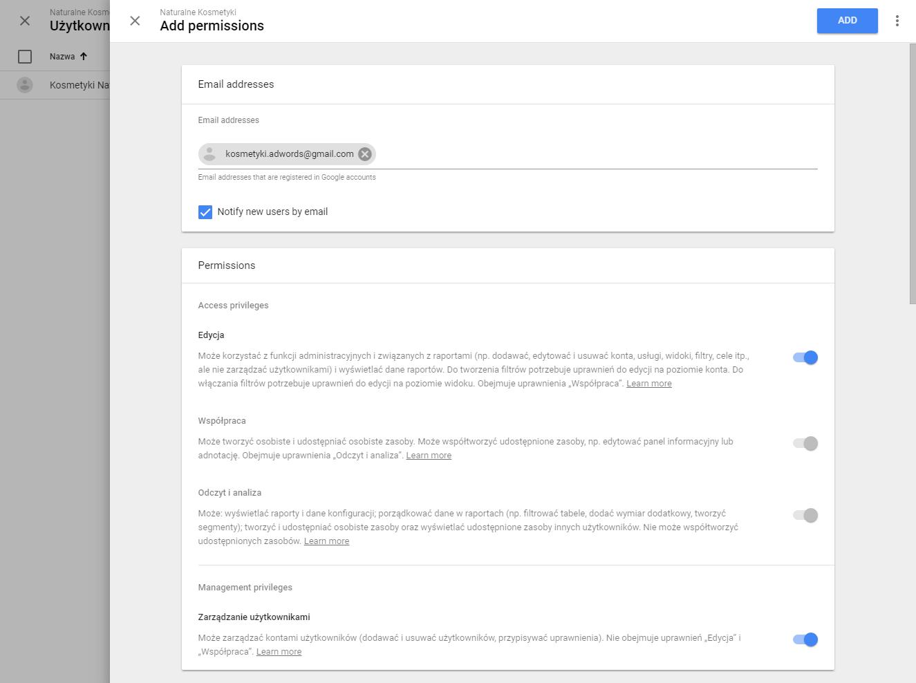 Nadanie uprawnień użytkownikowi w Google Analytics
