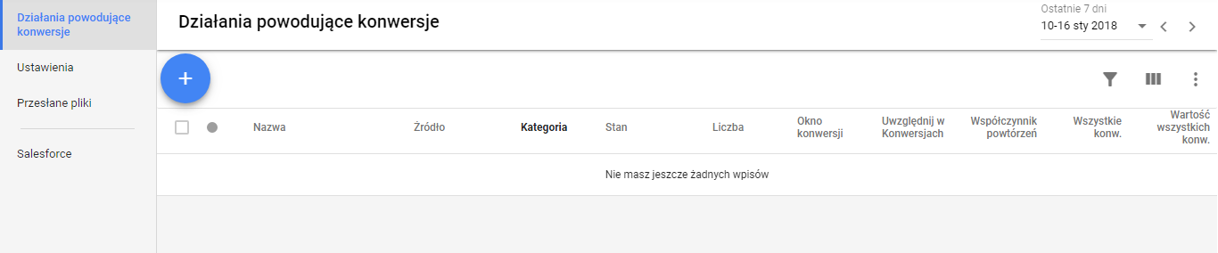 Nowa konwersja w Google AdWords