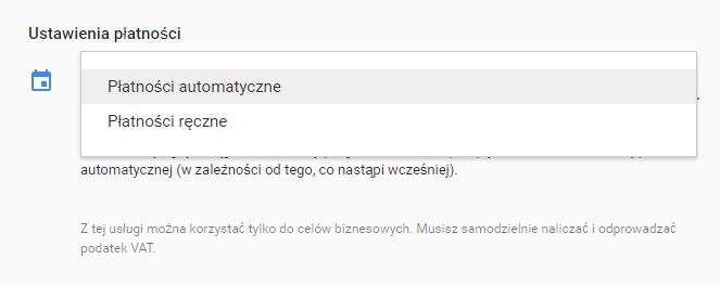 Opcja płatności w Google AdWords