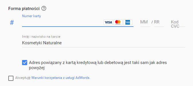 Płatność kartą w Google AdWords