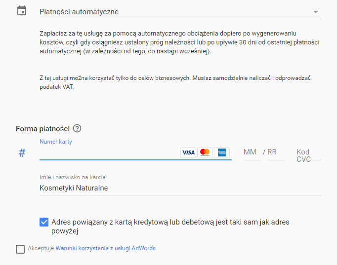 PodpiÄ™cie karty w panelu Google AdWords