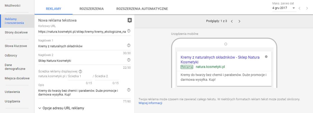 Tworzenie nowej reklamy Google AdWords