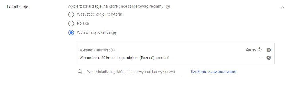 Promień lokalizacji - kampania Google AdWords