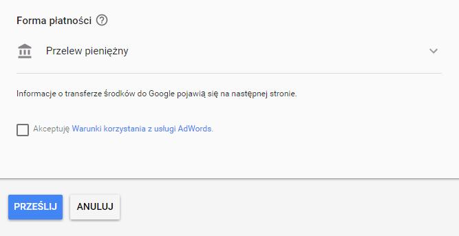 Przelew pieniężny w Google AdWords