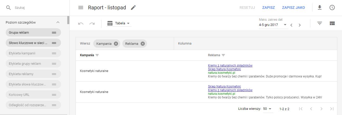 Zapisanie raportu Google AdWords