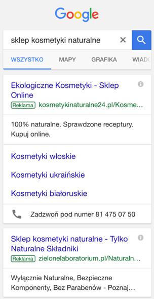 Rozszerzenia w reklamie Google AdWords