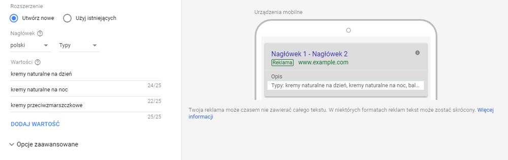 Rozszerzenie informacji w witrynie