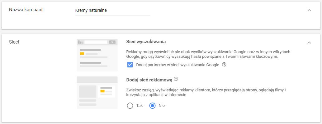 Ustawienie sieci w nowej kampanii Google AdWords