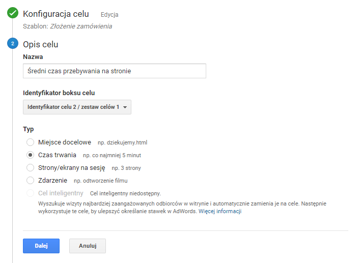 Åšredni czas w Google Analytics