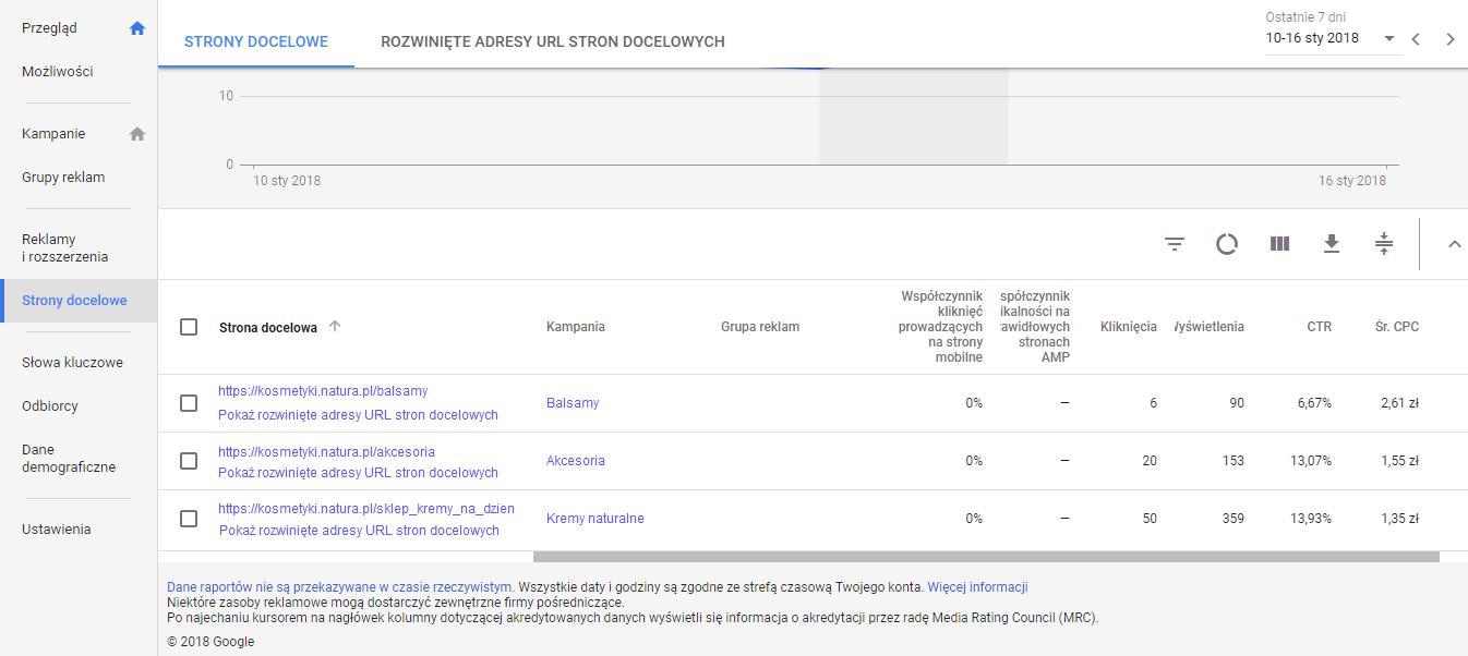 Strony docelowe w panelu Google Adwords