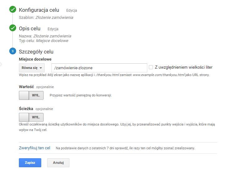 Szczegóły celu w Google Analytics