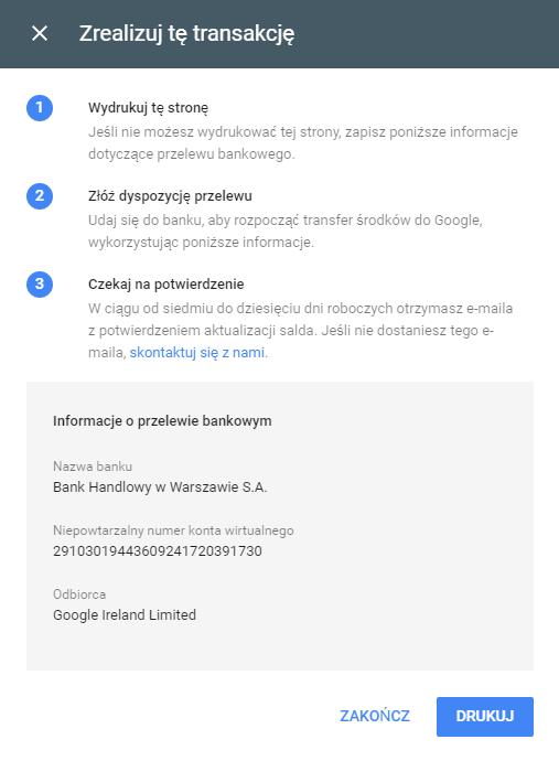 Przelew pieniężny w panelu Google AdWords