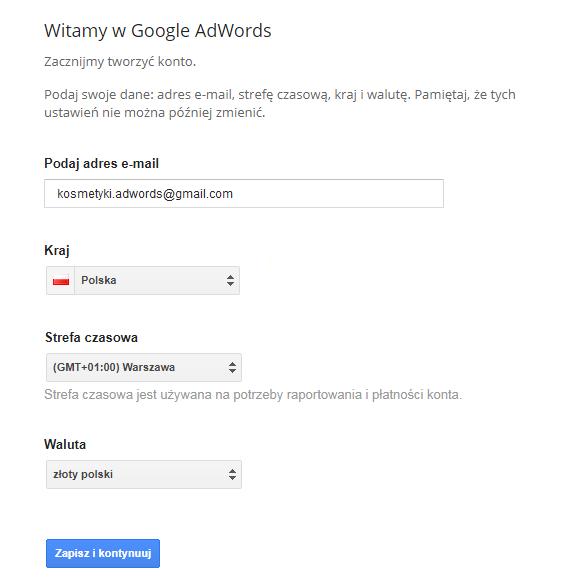 Tworzenie konta AdWords