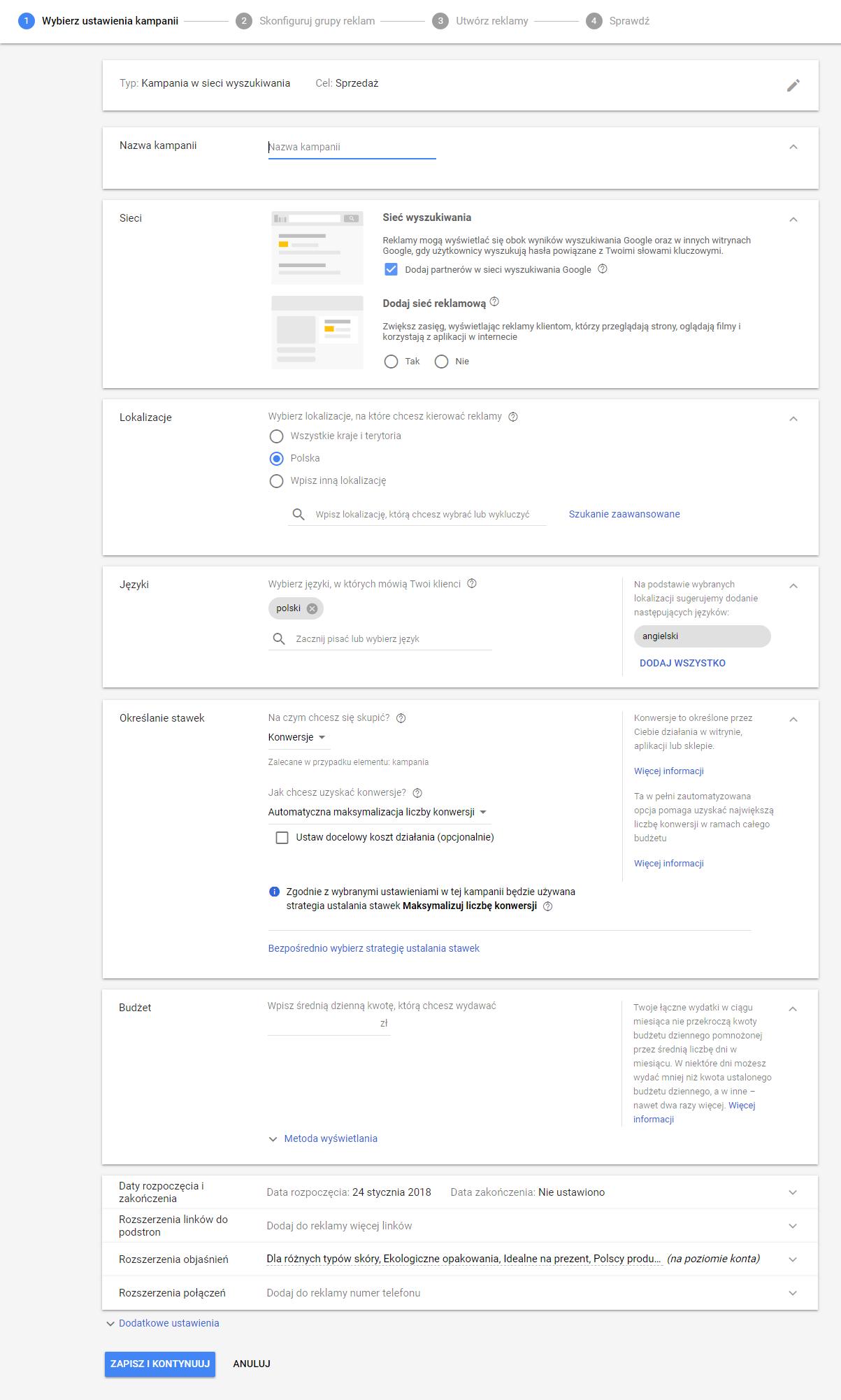 Ustawienia nowej kampanii Google AdWords