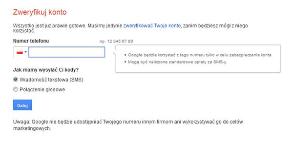 Weryfikacja konta Google