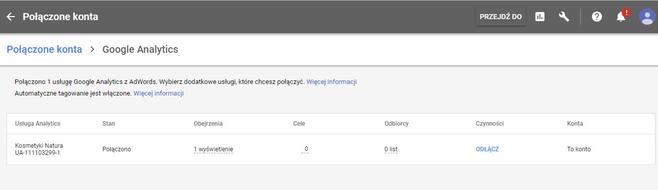 Widok na połączone konta w panelu Google Adwords