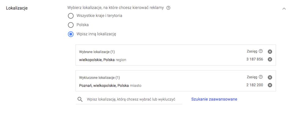 Wykluczone lokalizacje w kampanii Google AdWords